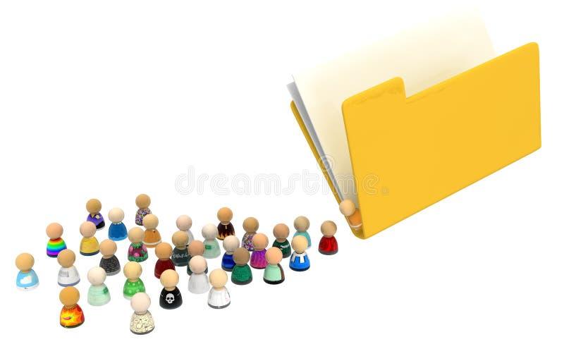 Cartoon Crowd, File Folder vector illustration