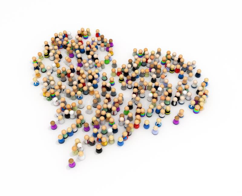 Download Cartoon Crowd, Heart Shape stock illustration. Illustration of ethnicity - 10198079
