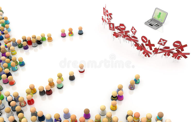 Cartoon Crowd, Laptop Restricted royalty free stock image