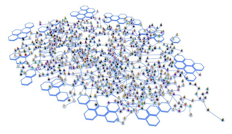 Cartoon Crowd Layered System, Hex Sides royalty free stock photos