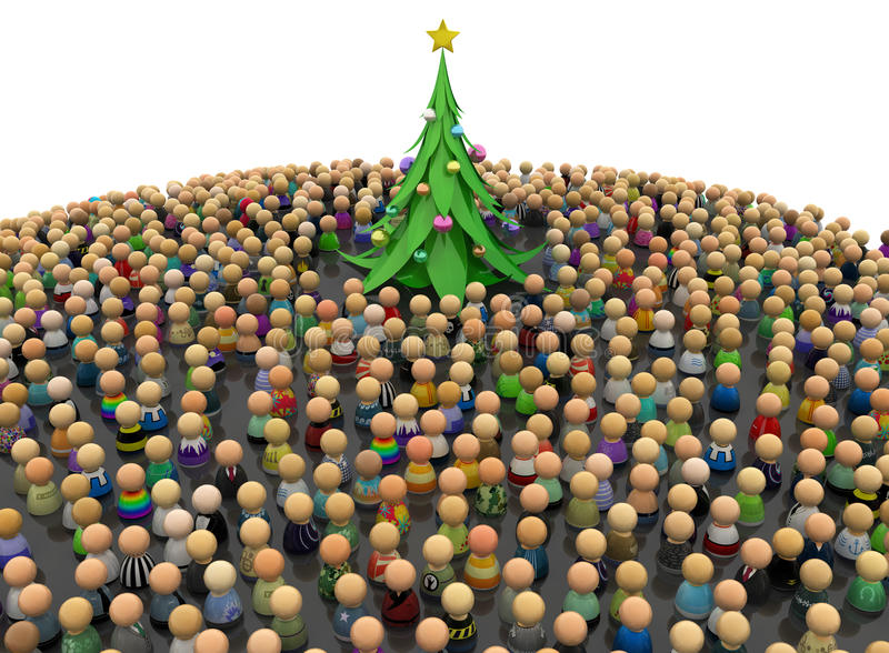 Cartoon Crowd, New Year Tree stock photography