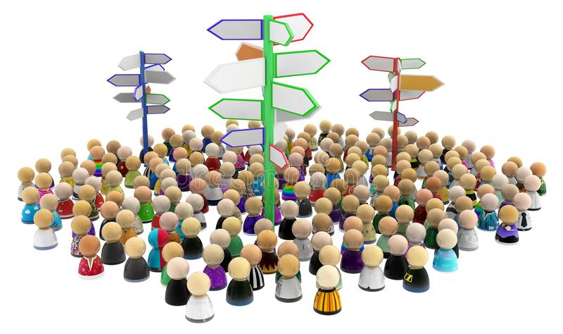 Cartoon Crowd, Signposts. Crowd of small symbolic figures with signposts, 3d illustration, horizontal, isolated, over white vector illustration
