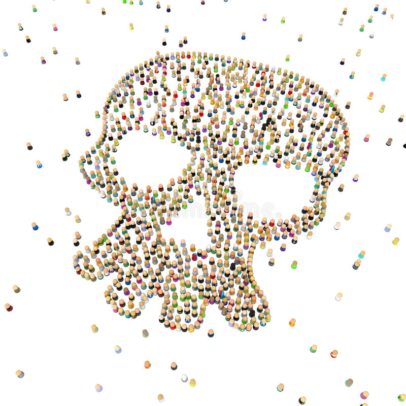 Download Cartoon Crowd, Skull Shape stock illustration. Image of white - 15698716