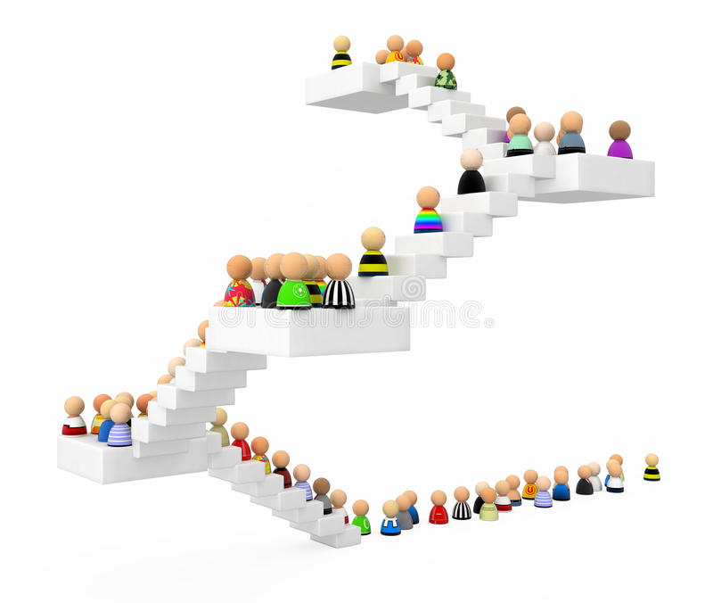 Cartoon Crowd, Staircase Stock Images