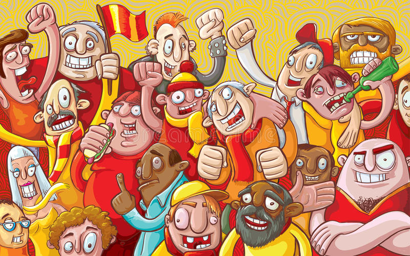 Cartoon crowd royalty free illustration