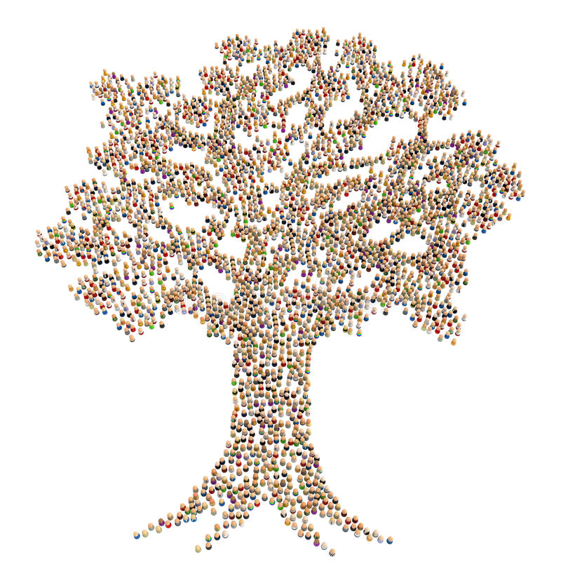 Cartoon Crowd, Tree royalty free illustration