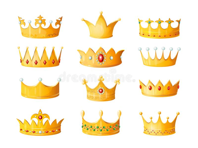 Cartoon crown. Golden emperor prince queen royal crowns diamond coronation gold antique tiara crowning imperial corona royalty free illustration