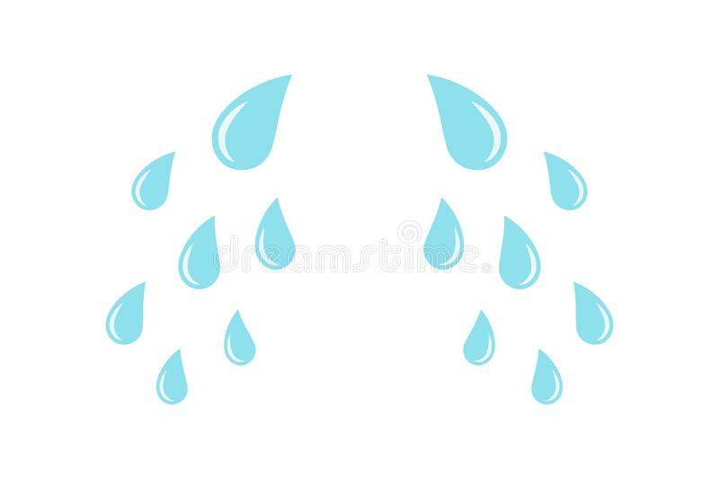 Cartoon cry tears. Droplets or teardrops icons. Isolated on white background royalty free illustration