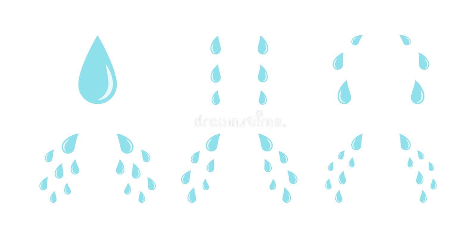 Cartoon cry tears. Droplets or teardrops symbols. Isolated on white background stock illustration