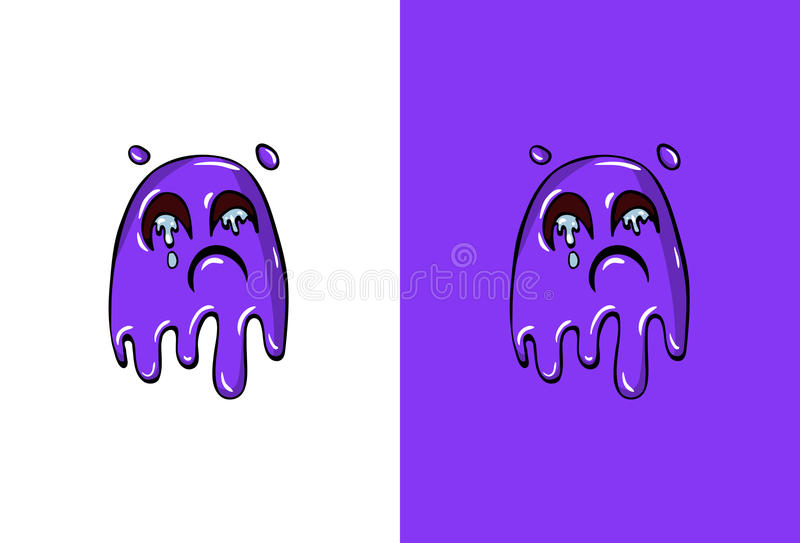 Cartoon Crying Face in Ghost Style stock illustration
