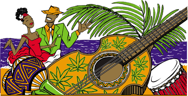 Cartoon cuban couple dancing salsa on the beach, maracas, cuban royalty free illustration