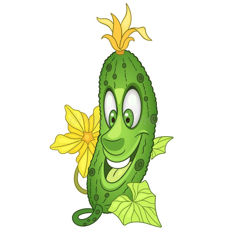 Cartoon Cucumber character royalty free stock images