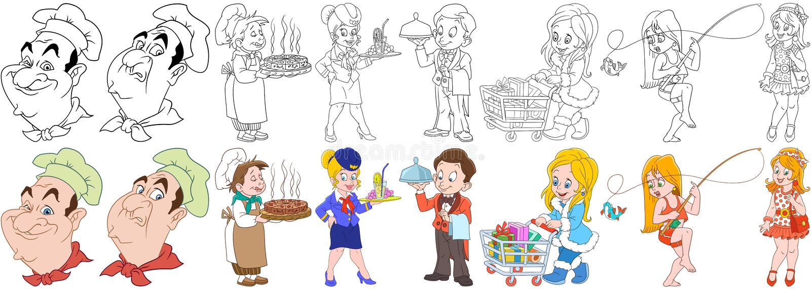 Cartoon culinary professions set stock image