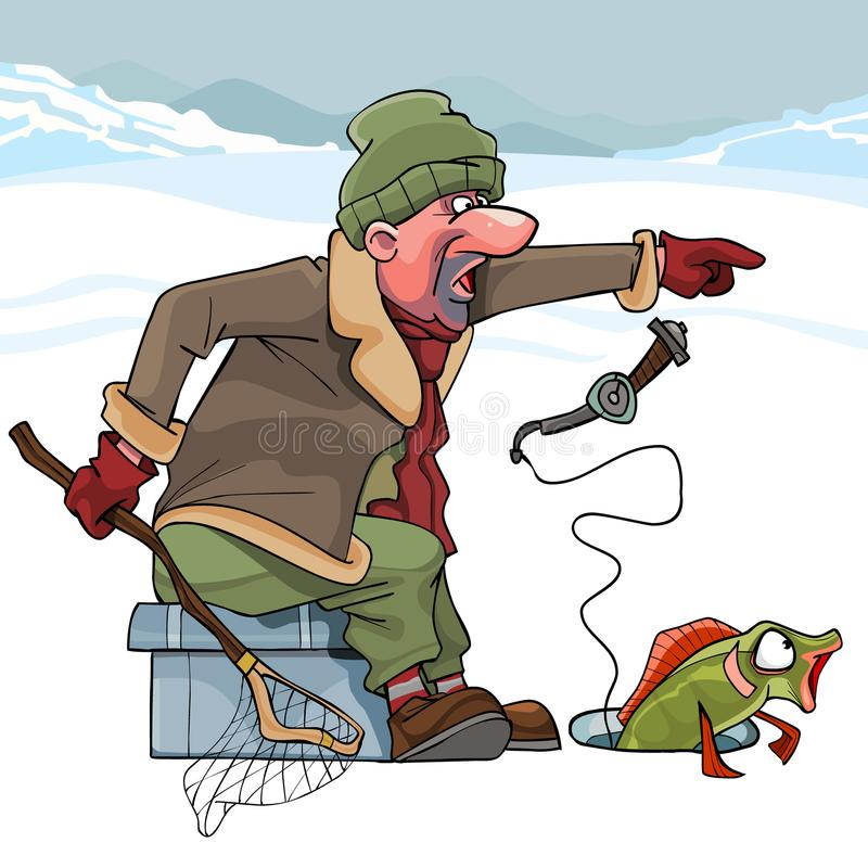 Cartoon cunning fisherman catches fish in winter royalty free illustration