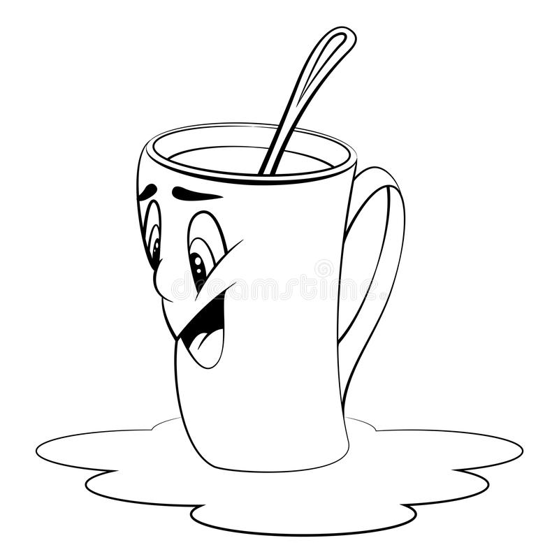 Cartoon cup. Surprised expression. Coloring page stock photo
