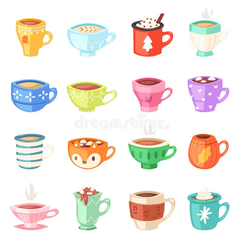 Free Cartoon Cup Vector Kids Mugs Hot Coffee Or Tea Cupful On Breakfast And Various Shapes Of Coffeecup Illustration Set Of Stock Image - 131461281