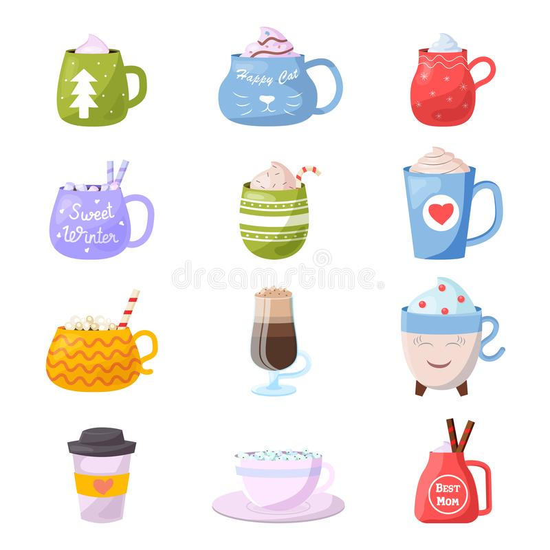Free Cartoon Cup Vector Kids Mugs Hot Coffee Or Tea Cupful On Breakfast And Various Shapes Of Coffeecup Illustration Set Of Stock Photo - 137906420