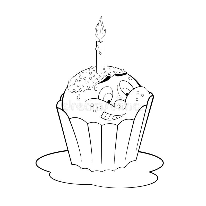 Cartoon Cupcake With Candle. Coloring Page Stock Vector ...