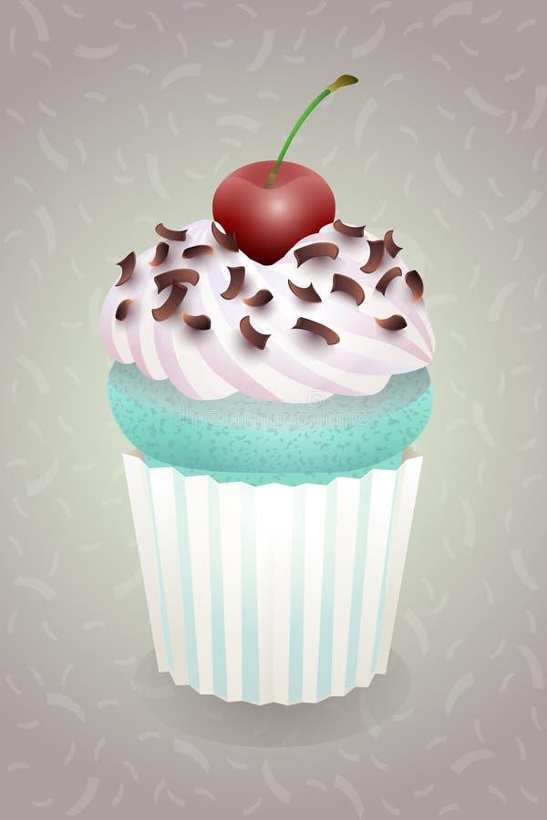 Cartoon cupcake greeting card. postcard. sweet love valentine card. raster version. Cartoon cupcake postcard. sweet love valentine card. raster version stock illustration