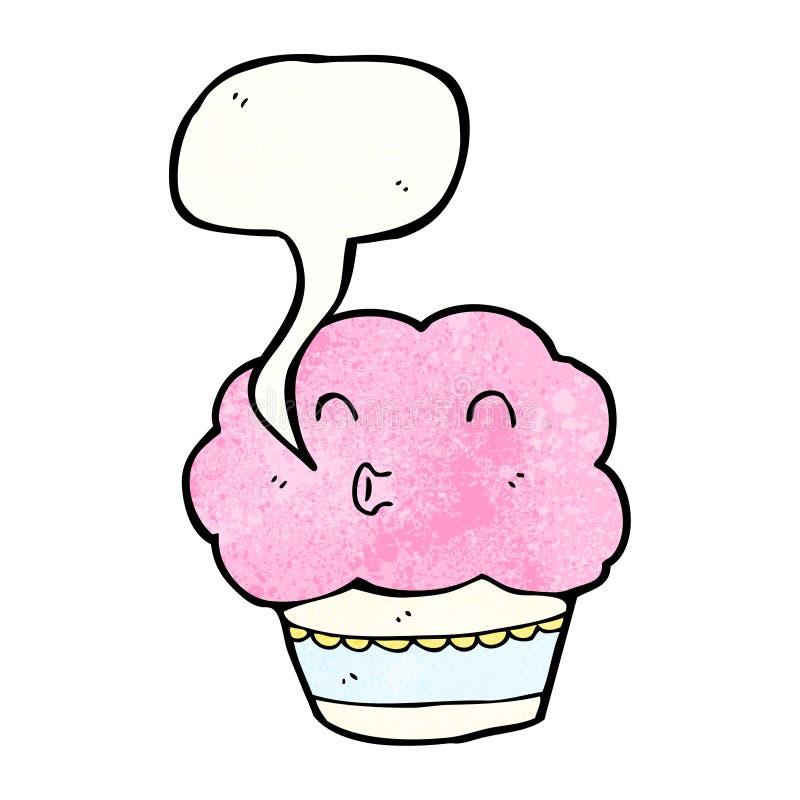 Cartoon cupcake with speech bubble. Retro cartoon with texture. Isolated on White stock illustration