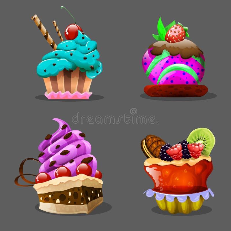 Cartoon cupcake. Vector illustration. royalty free illustration