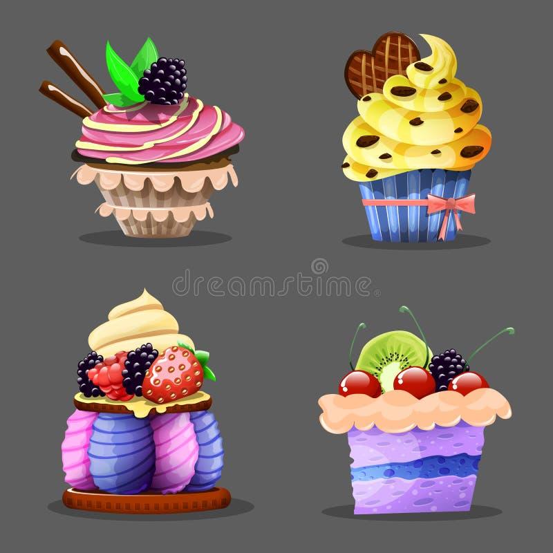 Cartoon cupcake. Vector illustration. stock illustration