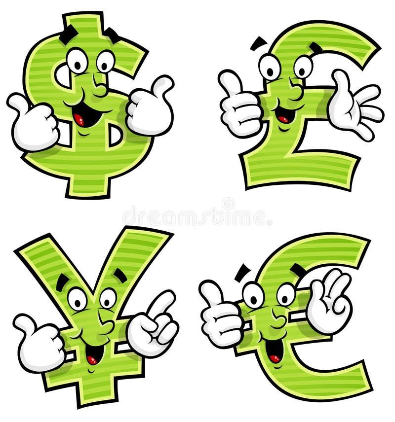 Cartoon Currency Symbols royalty free illustration