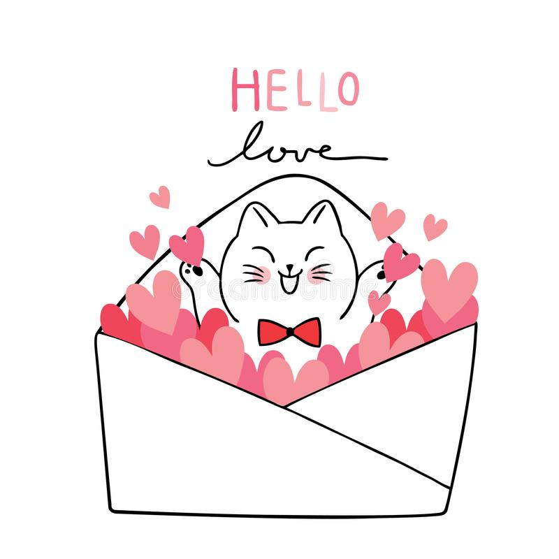 Cartoon cute adorable Valentines day white cat happy in letter and hearts vector. stock photos