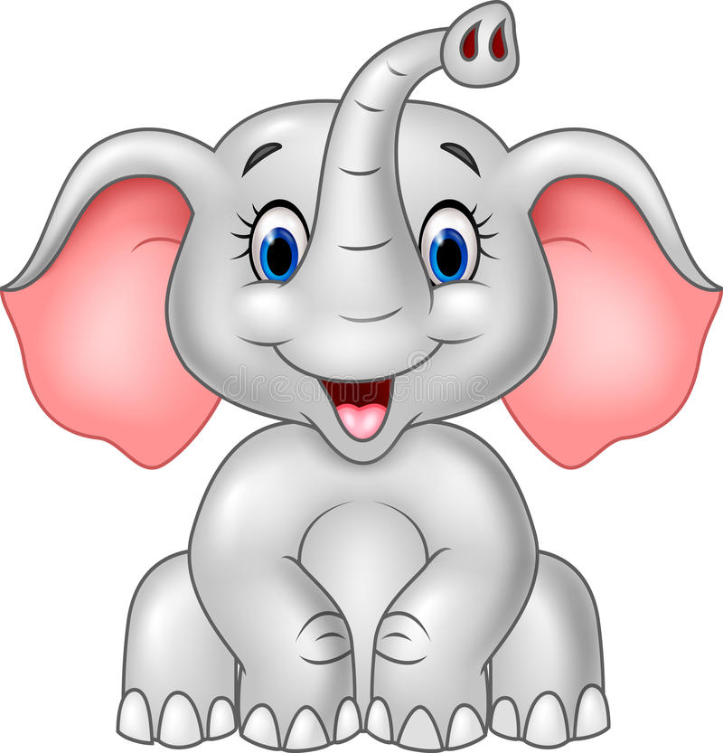 Cartoon cute baby elephant isolated on white background vector illustration