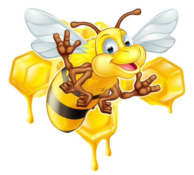 Free Cartoon Cute Bee And Honey Stock Photos - 57895033