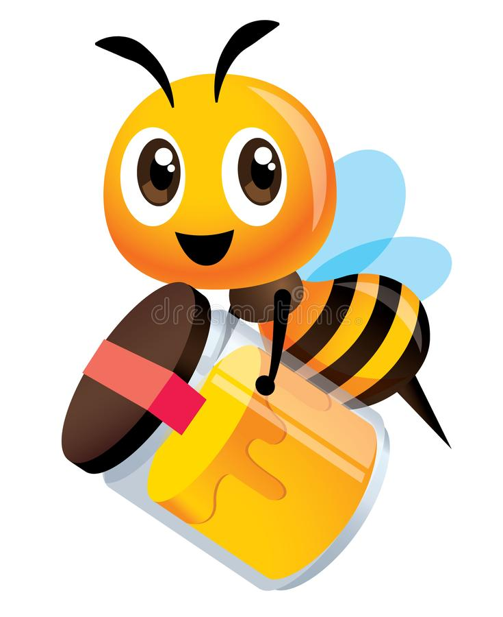 Cartoon cute bee holds a big bottle of  fresh honey product. Delivery fresh natural honey product to customer. Vector illustration vector illustration