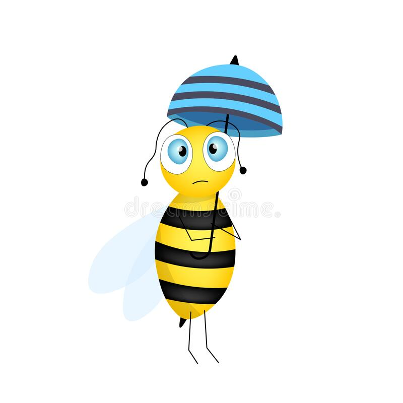 Free Cartoon Cute Bee Mascot. Sad Bee With Blue Umbrella. Small Wasp. Vector Character. Insect Icon. Holiday Template Design For Royalty Free Stock Photo - 182050995