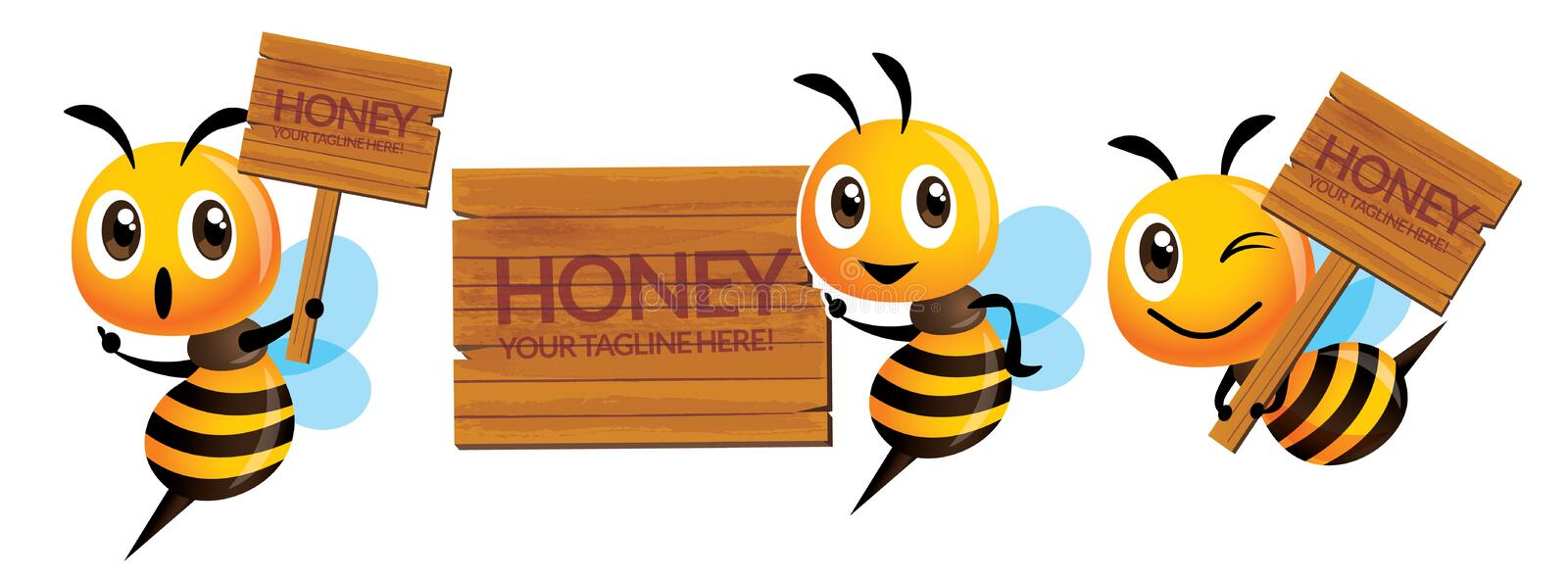 Cartoon cute bee mascot set. Cartoon cute bee with natural wooden signage or signboard royalty free illustration