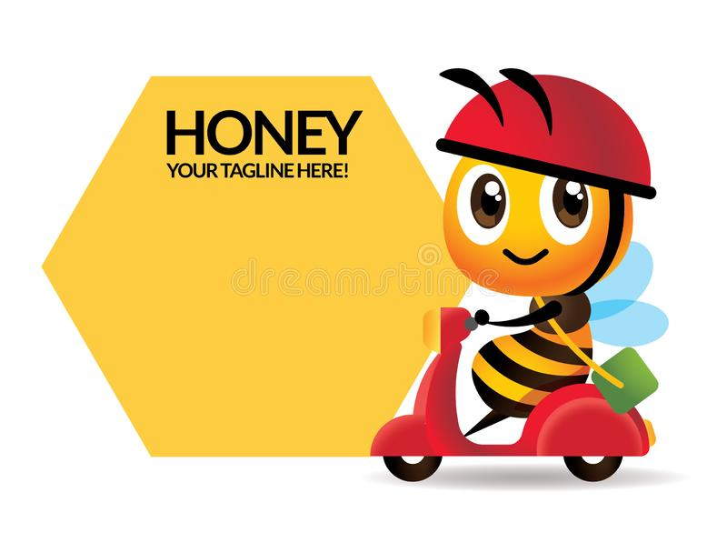Cartoon cute bee rides scooter delivery with big signage or signboard. Vector royalty free illustration