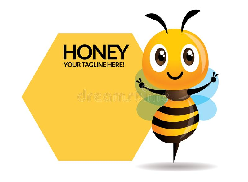 Cartoon cute bee spread hands with big signage or signboard. Vector stock illustration