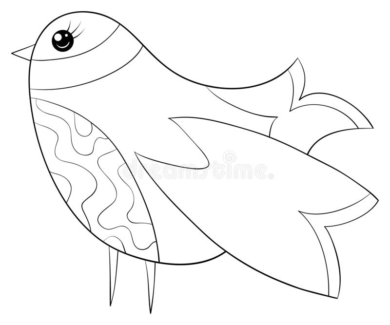 A children coloring book,page a cute cartoon bird image for relaxing activity.Line art style illustration. A cartoon cute cartoon bird image for relaxing vector illustration