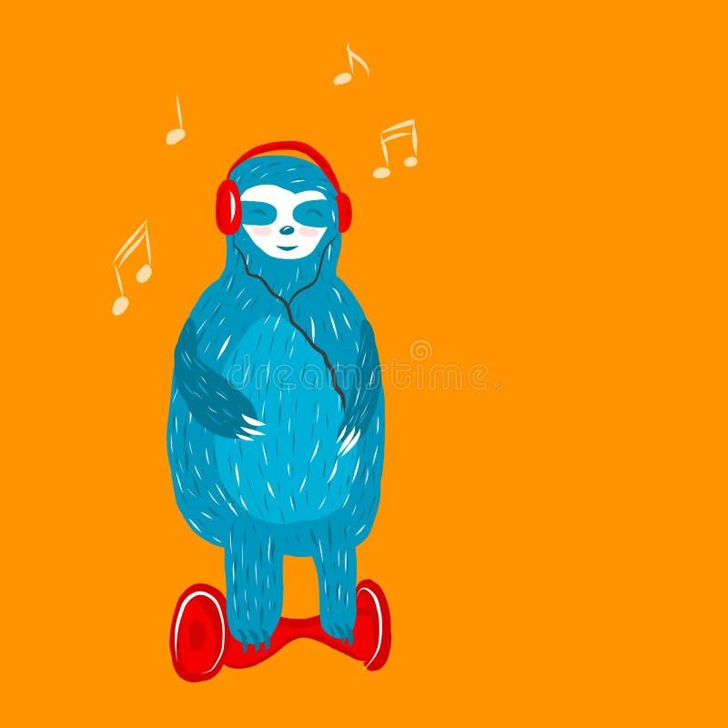 Cartoon cute blue sloth with royalty free illustration