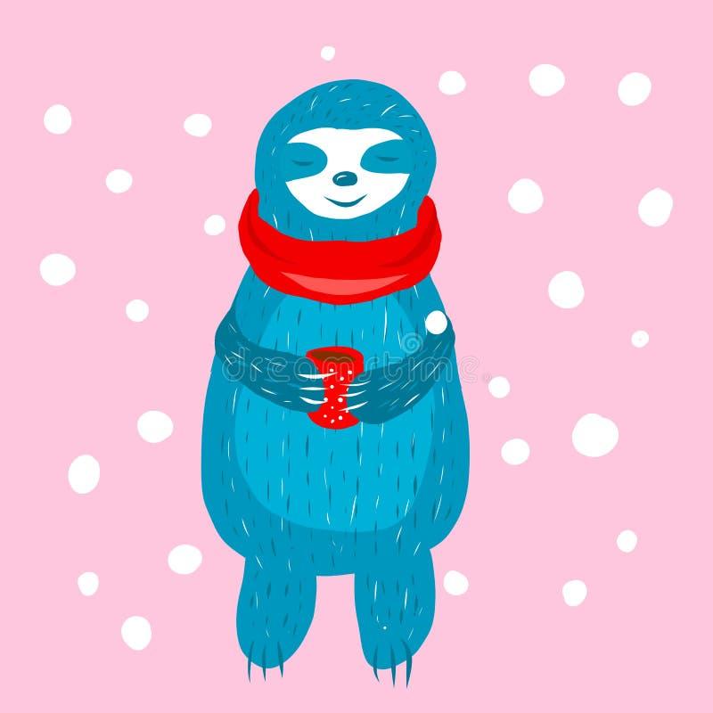 Cartoon cute blue sloth in royalty free illustration