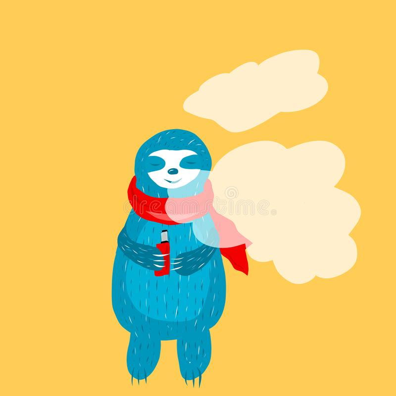 Cartoon cute blue sloth in stock illustration
