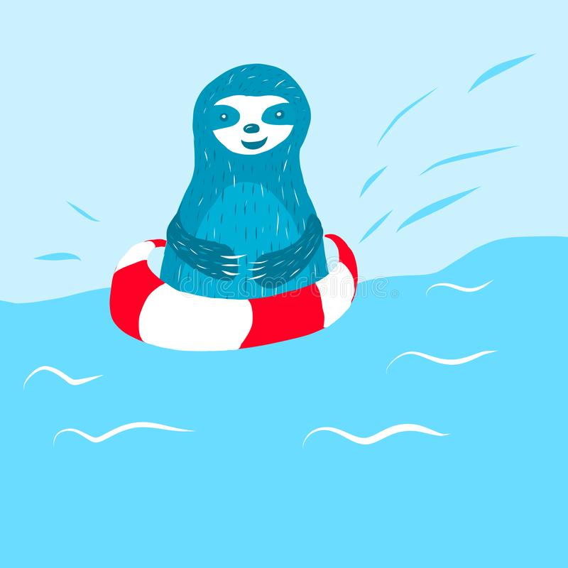 Cartoon cute blue sloth swims stock illustration