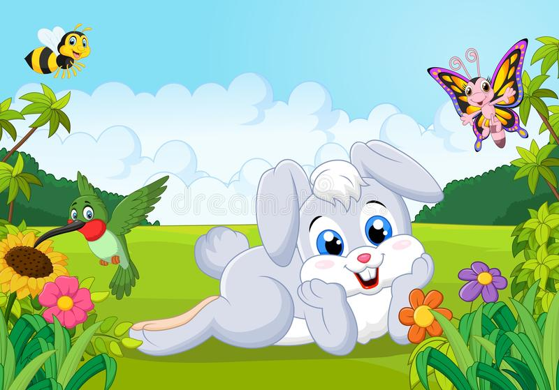 Cartoon cute bunny in the jungle royalty free illustration