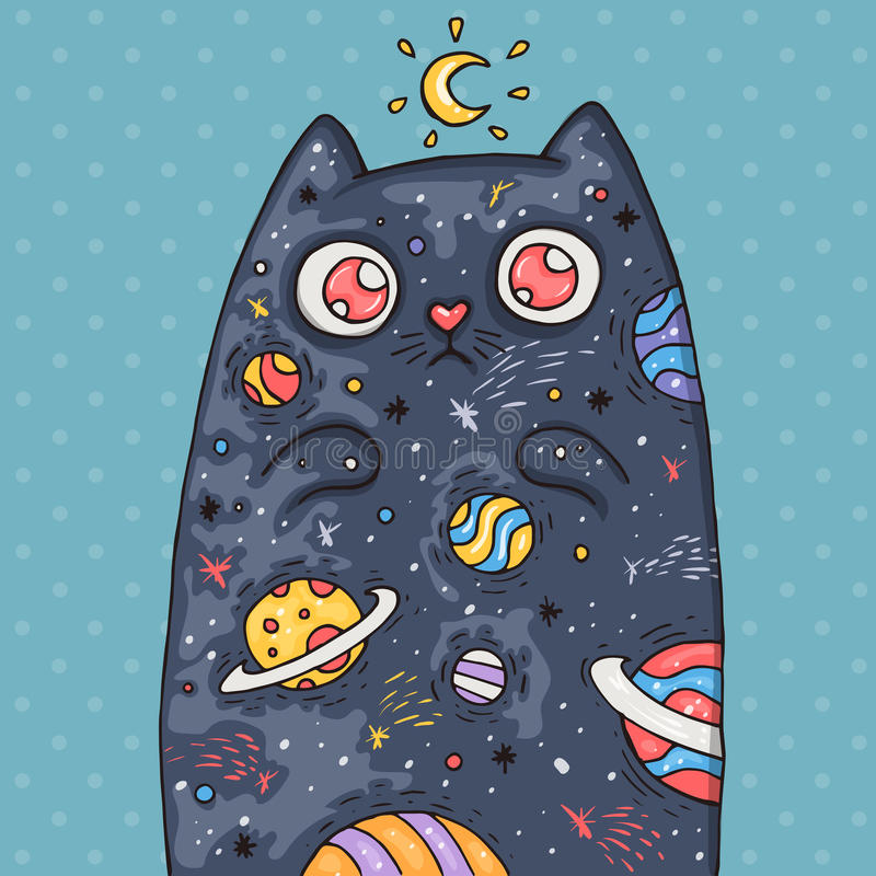 Cartoon cute cat with the universe inside. Cartoon illustration in comic trendy style. stock photography
