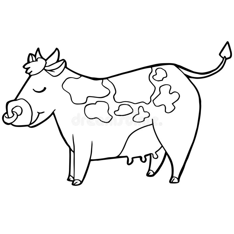 Cartoon Cute Cattle Or Cow Coloring Page Vector Stock Vector ...