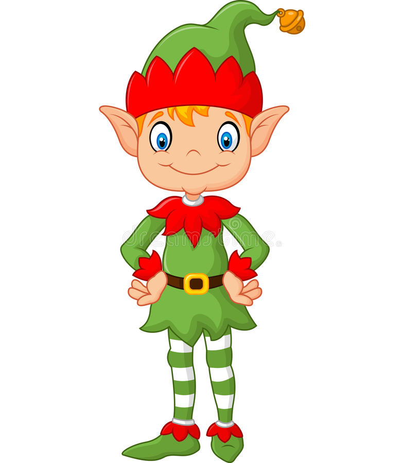 Cartoon Cute Christmas Elf Posing Stock Vector