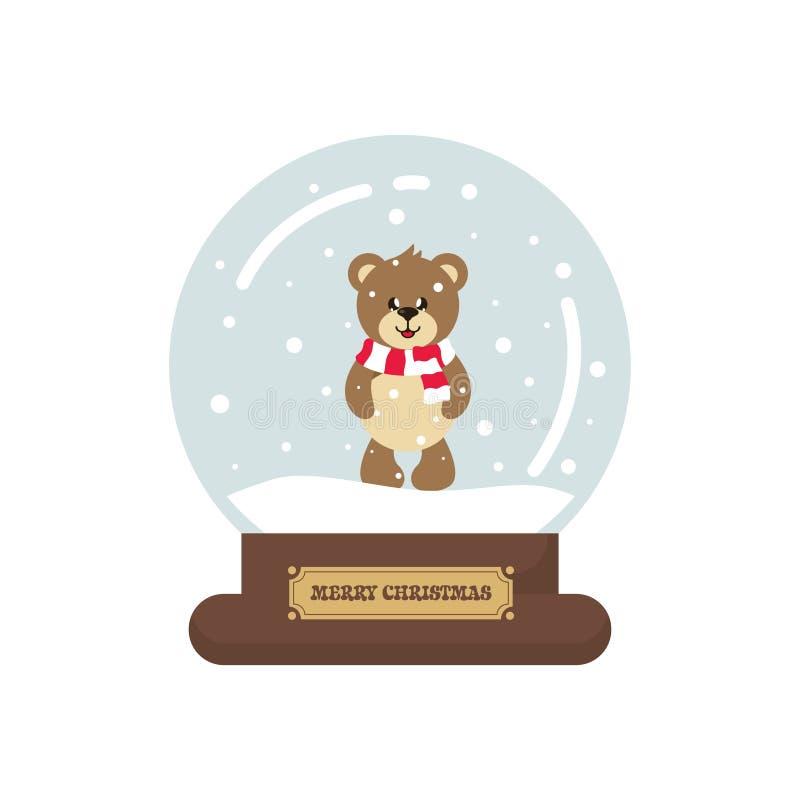 Cartoon cute christmas snowglobe with cute bear. Vector image of a cartoon cute christmas snowglobe with cute bear stock illustration