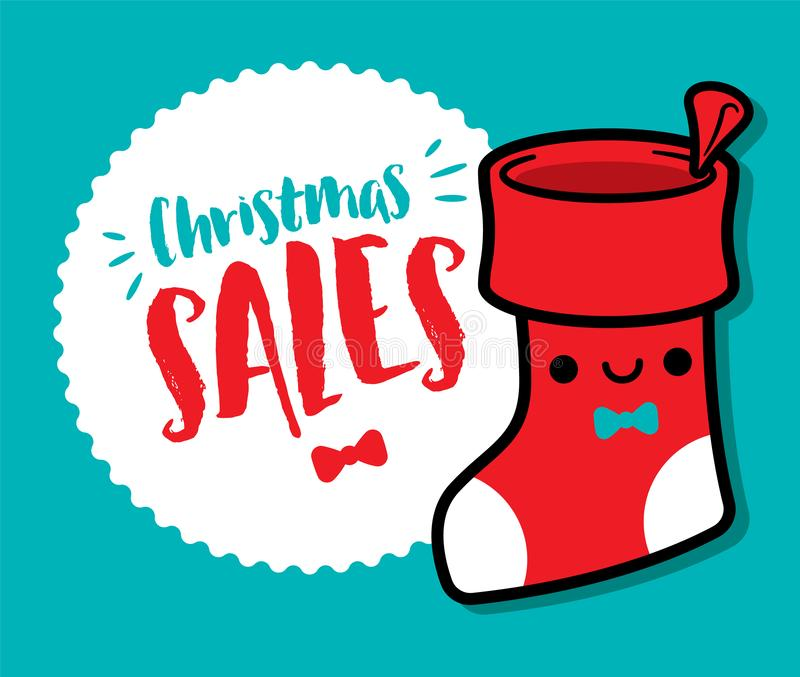 Cartoon cute Christmas stocking with Christmas sales signboard - vector. Cute Christmas stocking with Christmas sales signboard in blue background - vector royalty free illustration