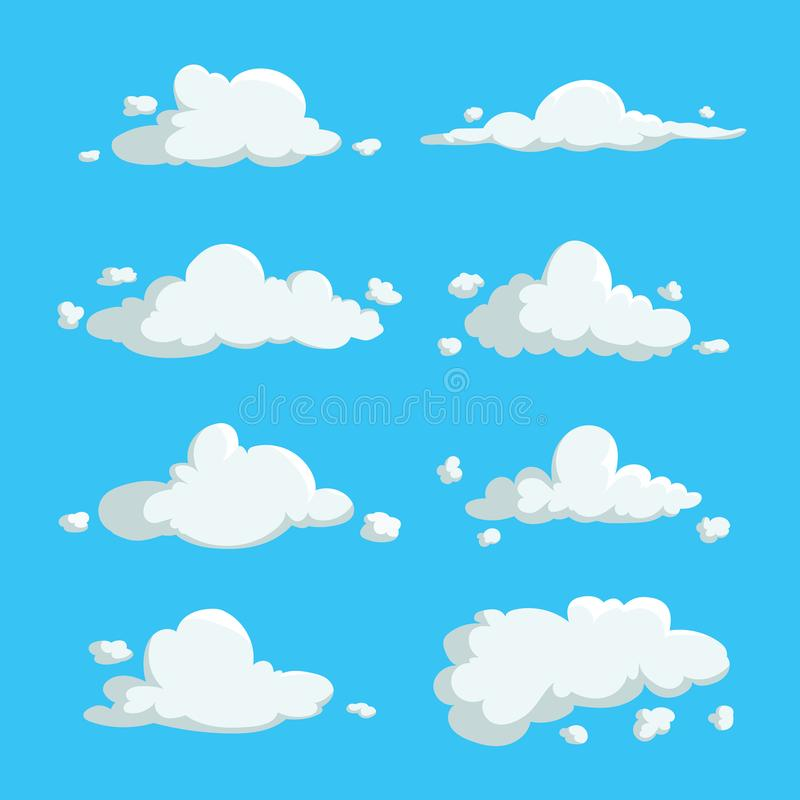 Cartoon cute cloud trendy design icons set. Vector illustration of weather or sky background. stock illustration