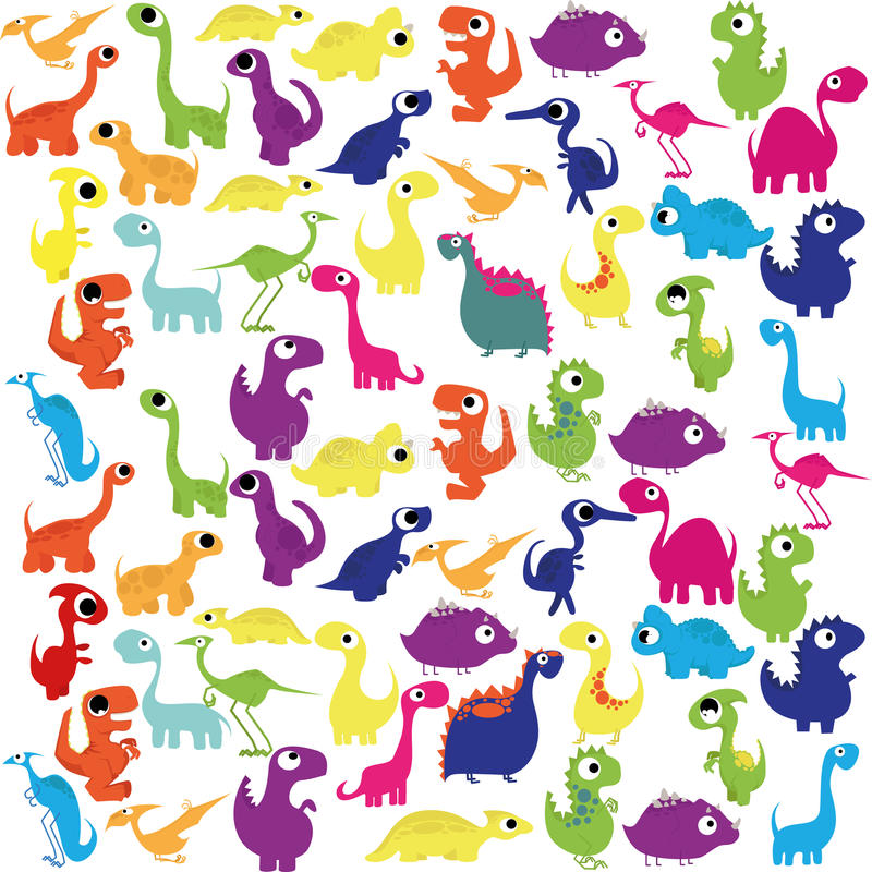Cartoon Cute And Colorful Group Of Dinosaurs. Vector Cartoon Cute And Colorful Group Of Dinosaurs stock illustration
