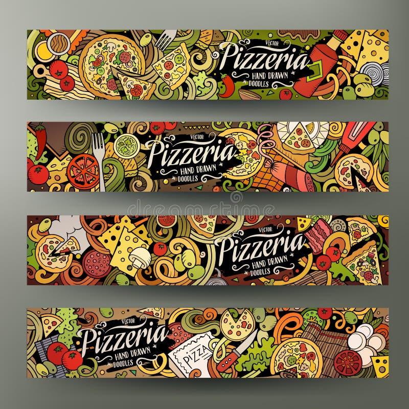 Cartoon cute colorful vector hand drawn doodles Pizzeria banners. Cartoon cute colorful vector hand drawn doodles Pizzeria corporate identity. 4 horizontal royalty free illustration