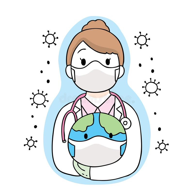 Cartoon Cute Coronavirus, COVID-19, Doctor And Vaccine Vector ...